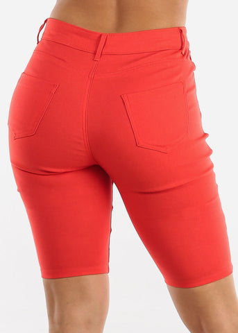 High Waisted Coral Bermuda Shorts