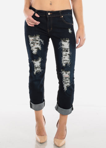 Image of Ripped Stretchy Boyfriend Jeans