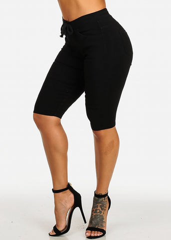 Image of Drawstring Stretchy Black Casual Capri