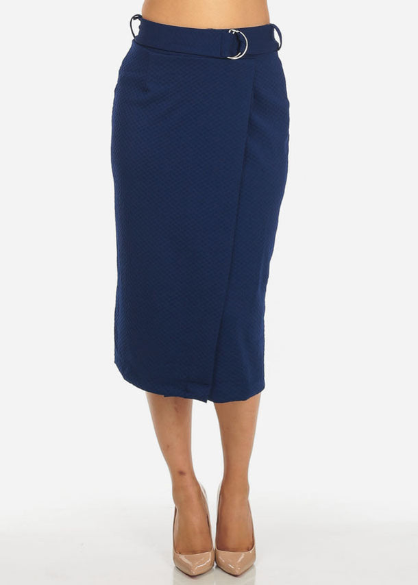 Blue Wrap Skirt with Belt