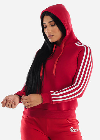 Stripe Sleeves Red Hoodie