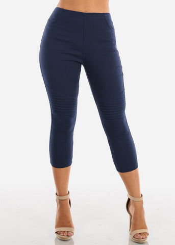 Image of Super Stretchy High  Rise Moto Style Navy Jegging Capris For Women Ladies Junior On Sale 2019 New Miami Style Trends