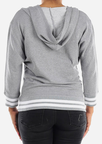 Image of 3/4 Sleeve Grey Pullover Sweatshirt