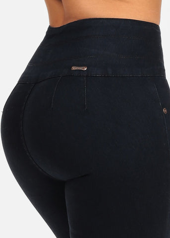 Image of High Rise Dark Wash 3 Button Closure Butt Lifting colombian Design Skinny Jeans
