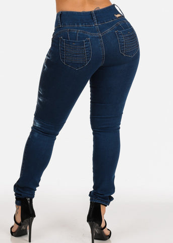 Image of Colombian Design Butt Lift Med Wash High Waisted Orange Stitching Skinny Jeans