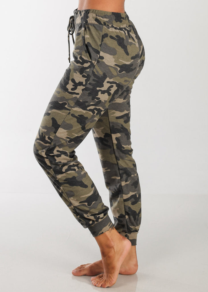 Women's Junior Ladies Casual Workout Gym Stretchy Camouflage Army  High Waisted Joggers Jogger Pants