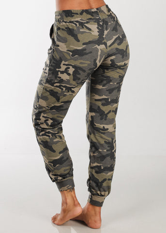 Image of Women's Junior Ladies Casual Workout Gym Stretchy Camouflage Army  High Waisted Joggers Jogger Pants