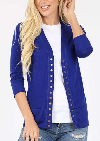 Snap Button Royal Blue Cardigan Sweater