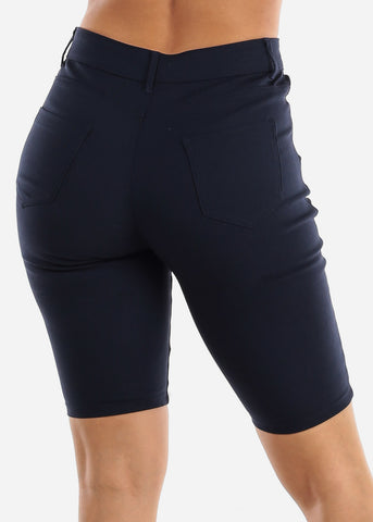 Image of High Waisted Navy Bermuda Shorts