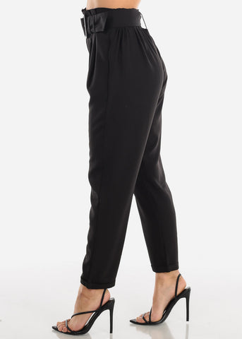 Black High Waisted Pants With Belt