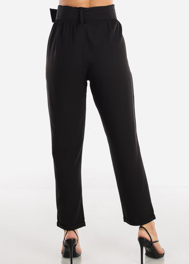 Black High Waisted Cuffed Ankle Pants With Belt