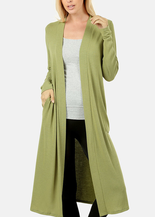 Open Front Sage Maxi Cardigan