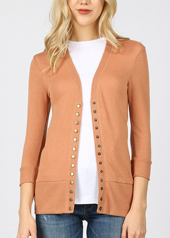 Snap Button Camel Cardigan Sweater