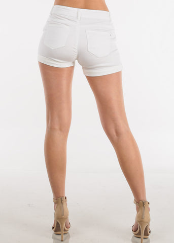 Trendy Lace Up White Shorts