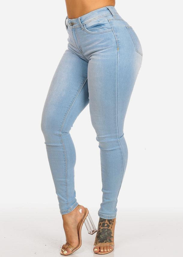 Affordable High Waisted Light Wash Skinny Jeans