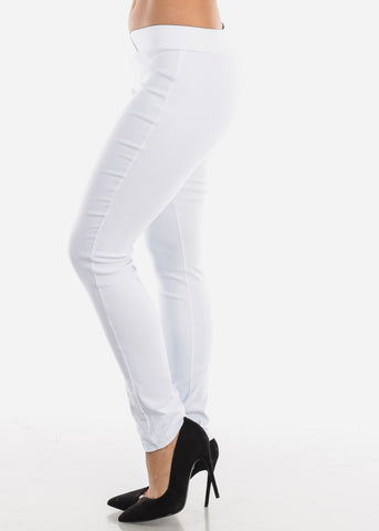 Image of V-Waistline White Skinny Pants
