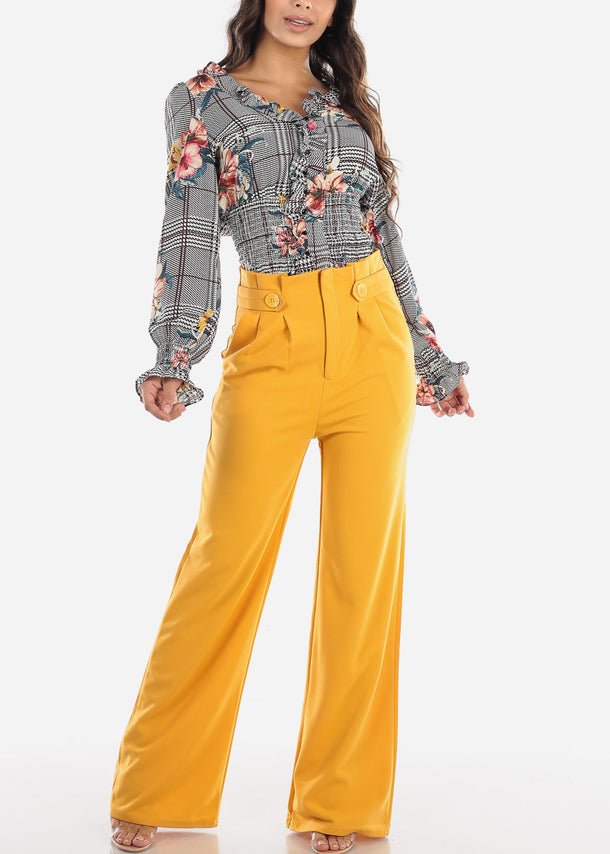 High Waisted Cinched Wide Leg Mustard Pants