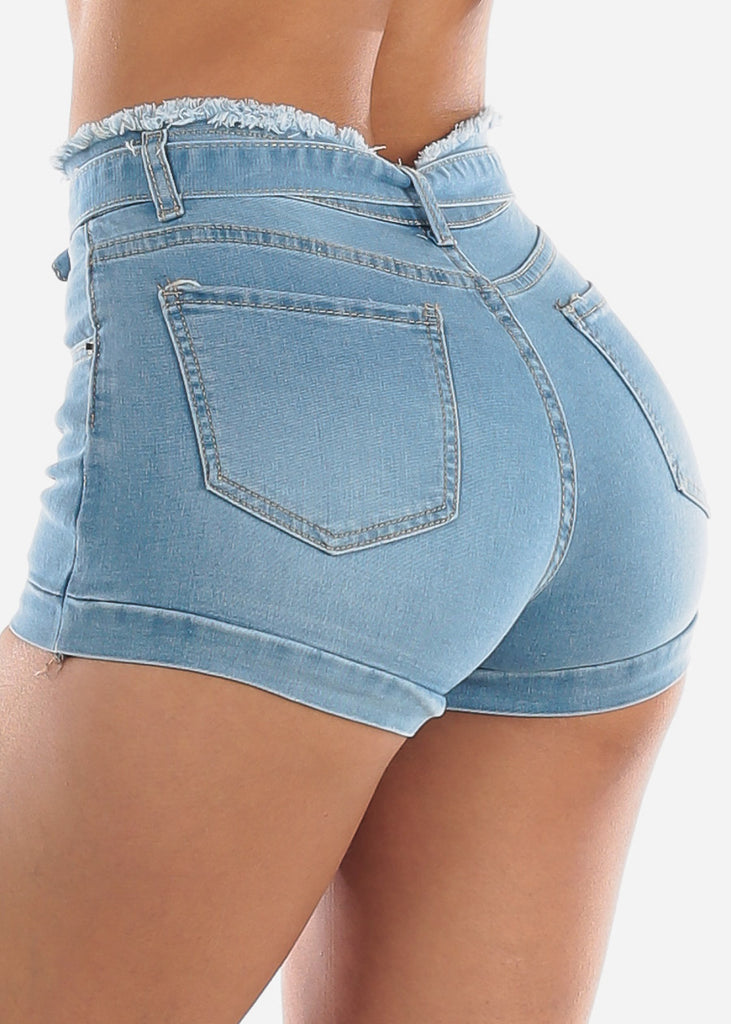 High Rise Paperbag Tie Jean Shorts