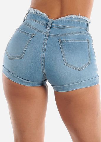Image of High Rise Paperbag Tie Jean Shorts