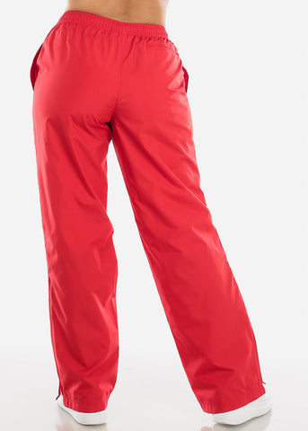 Image of Red Drawstring Waist Athletic Pants LPO010RED