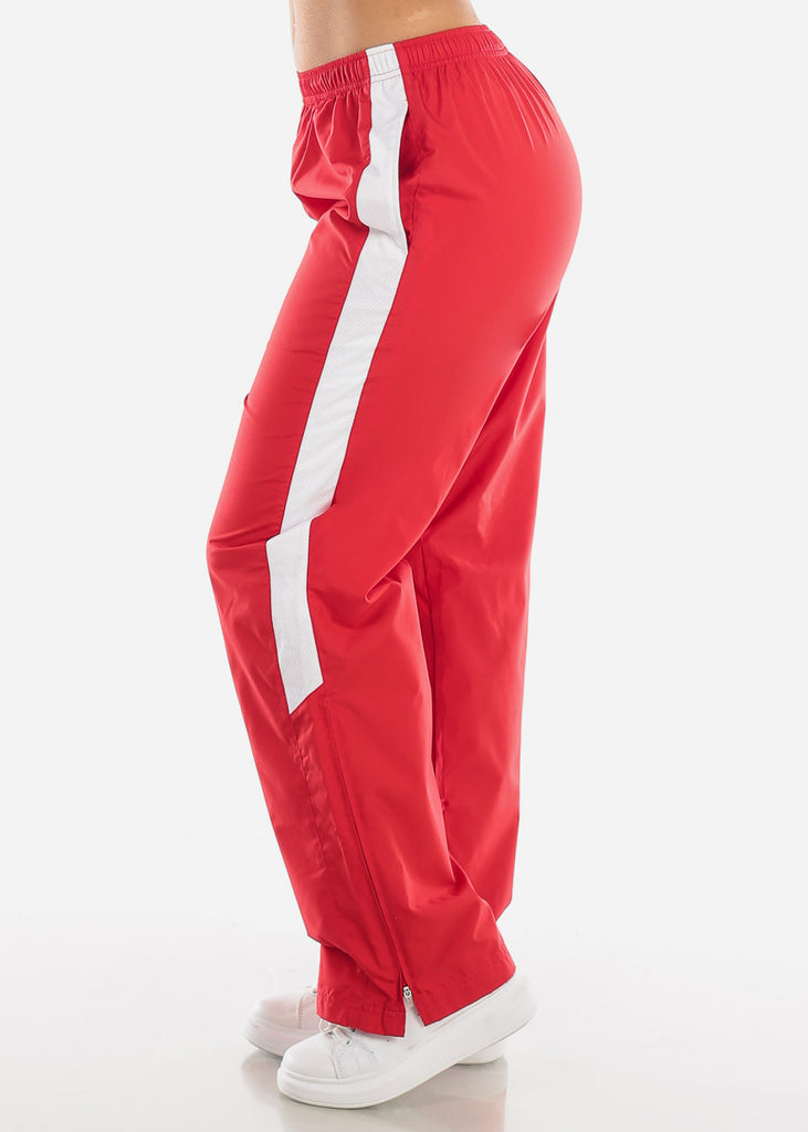 Red Drawstring Waist Athletic Pants