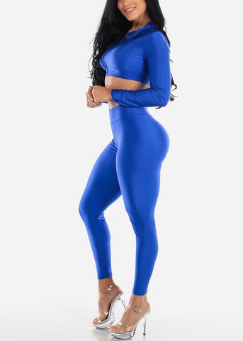 Image of Royal Blue Satin Crop Hoodie & Pants (2 PCE SET)