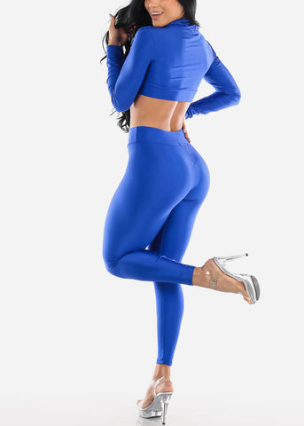 Royal Blue Satin Crop Hoodie & Pants (2 PCE SET)