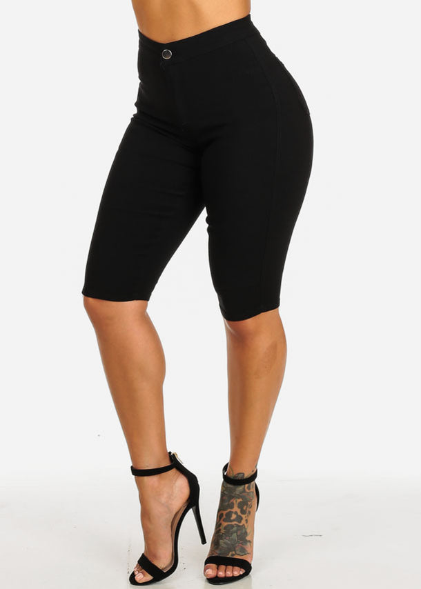 High Rise Black Slim Shorts