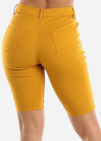 High Waisted Mustard Bermuda Shorts