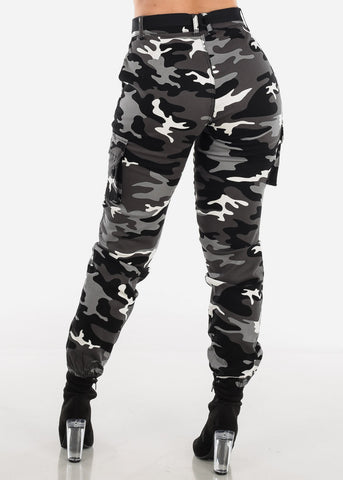 Image of Camo Cargo Pants Black