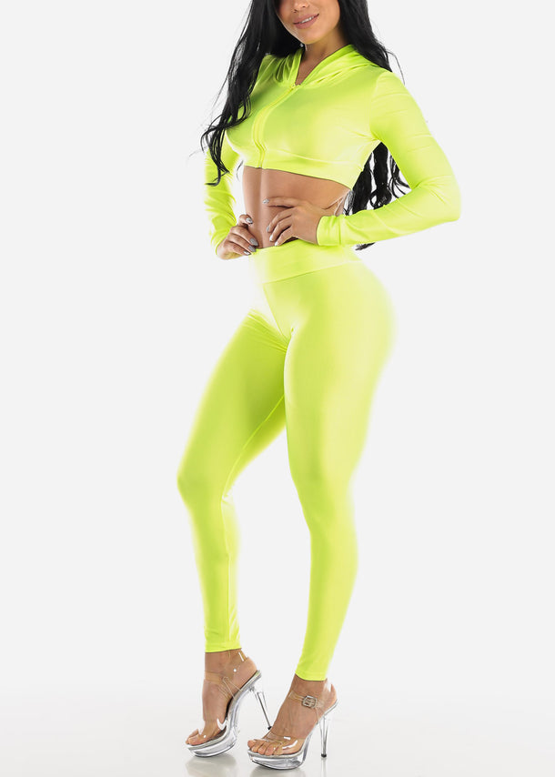 Neon Green Satin Crop Hoodie & Pants (2 PCE SET)