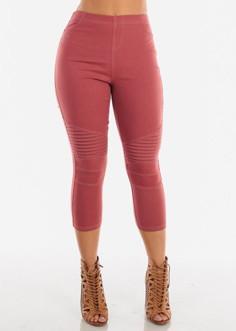 Image of Super Stretchy High  Rise Moto Style Brick Jegging Capris For Women Ladies Junior On Sale 2019 New Miami Style Trends
