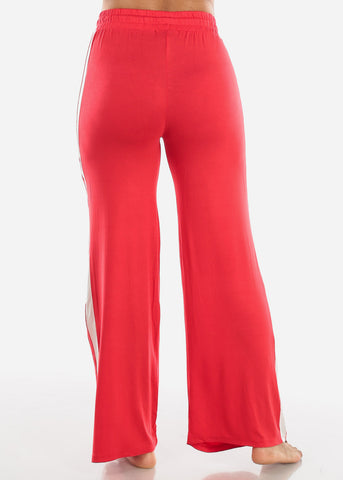 Side Stripe Wide Leg Red Pants 70858RED