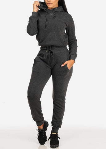 Drawstring Hem Charcoal Sweater W Hood
