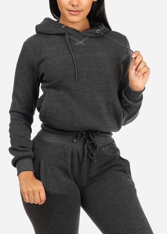 Image of Drawstring Hem Charcoal Sweater W Hood