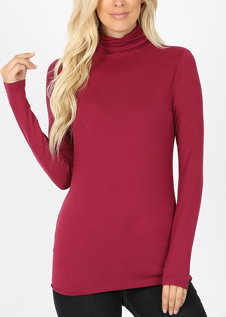 Mock Neck Wine Top
