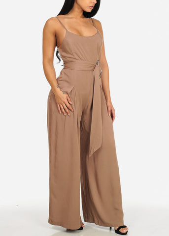 Image of Spaghetti Strap Drawstring Jumpsuit