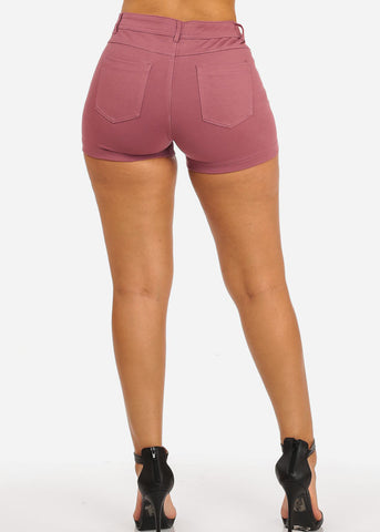 Pink Casual Stretchy Shorty Shorts