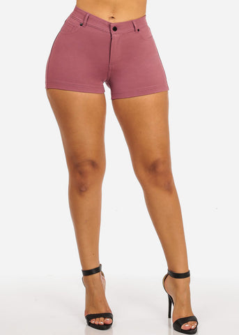 Image of Pink Casual Stretchy Shorty Shorts