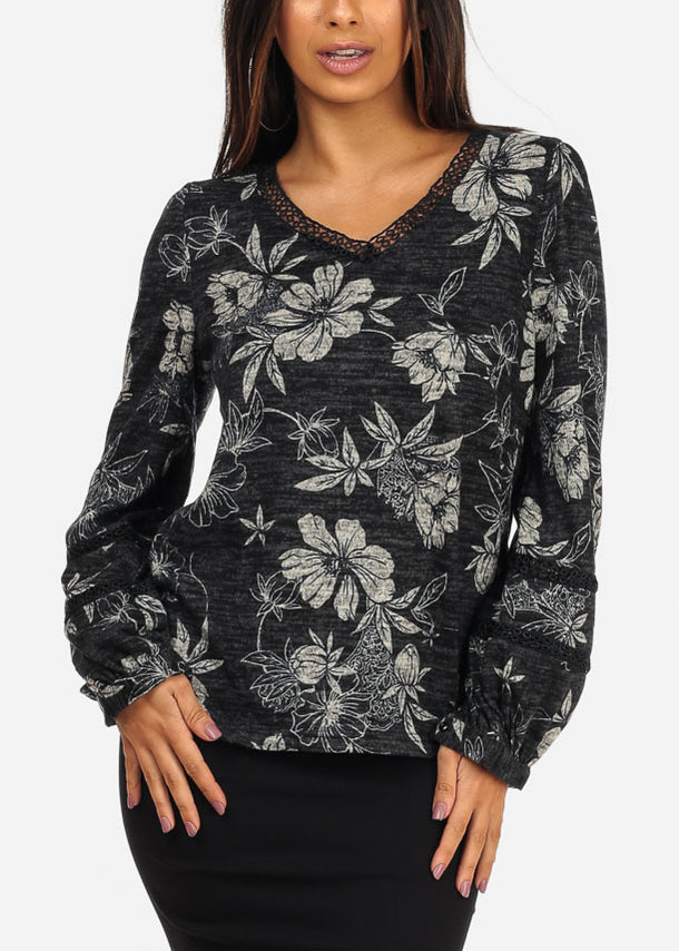 V Neckline Long Sleeve Floral Print Grey Blouse Top
