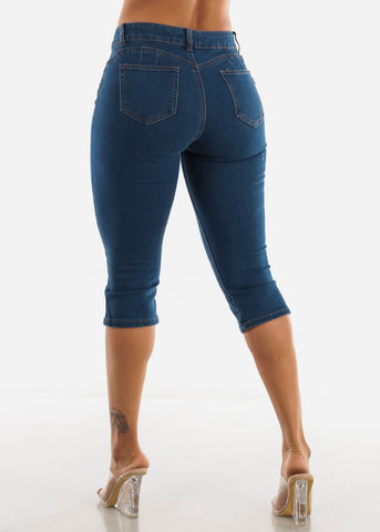 Butt Lifting Med Blue Capris