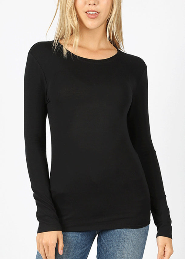 Basic Long Sleeve Black Top