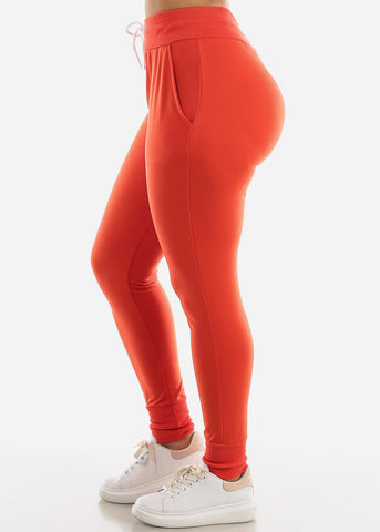 Drawstring Waist Dark Orange Jogger Pants