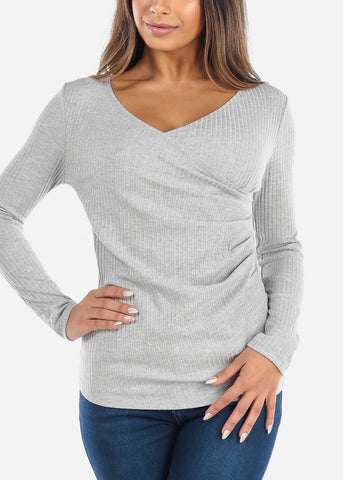 Grey Wrap Front Long Sleeve Top