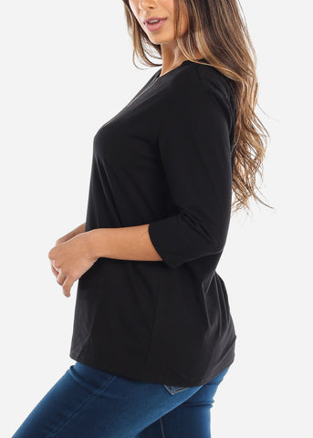 Three Quarter Sleeve Black Shirt