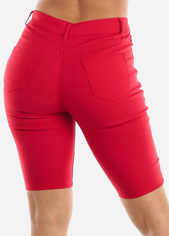 Image of High Waisted Red Bermuda Shorts