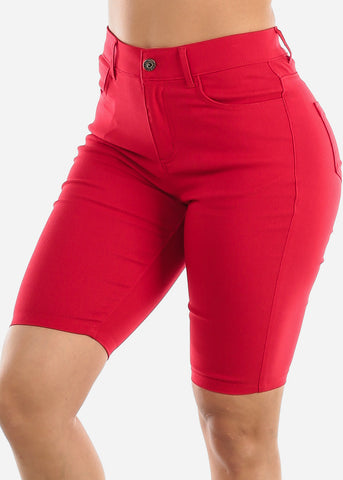 High Waisted Red Bermuda Shorts