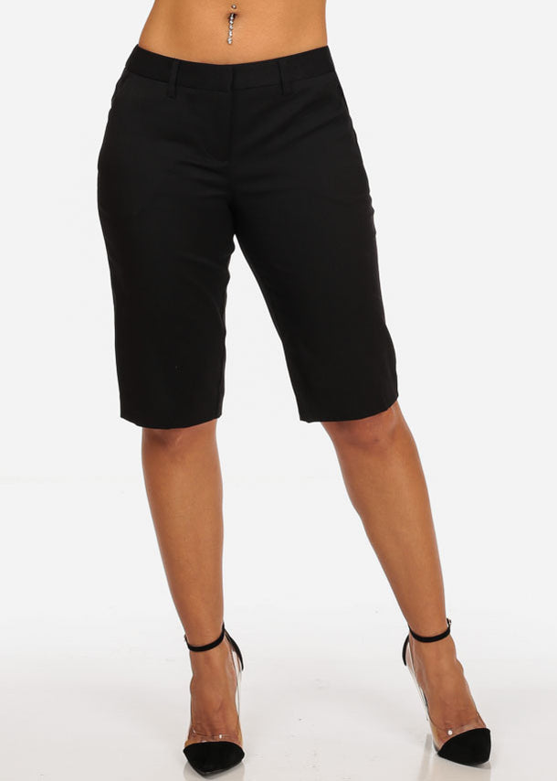 Women's Casual Dressy Straight Hem Plain Zipper Fly Basic Black Bermuda Shorts