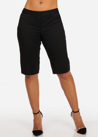Image of Women's Casual Dressy Straight Hem Plain Zipper Fly Basic Black Bermuda Shorts