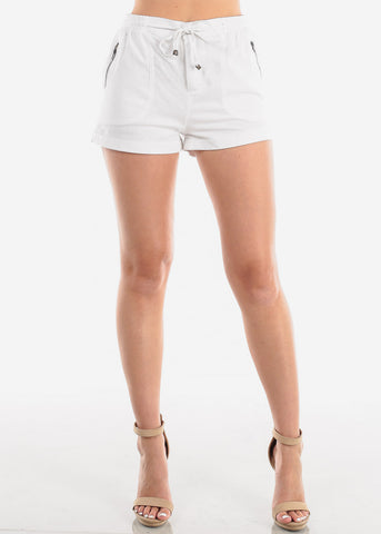 Women's Junior Ladies Casual Cute Going Out Beach Vacation High Waisted White Linen Shorts